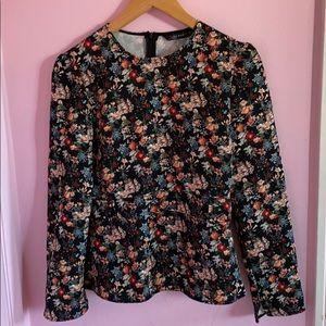 Zara, long sleeve floral blouse